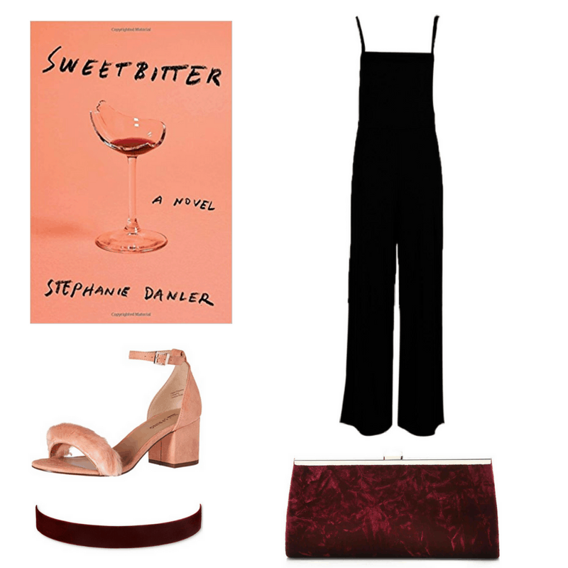 An outfit for Sweetbitter, featuring a black jumpsuit, peach heels, and maroon velvet choker and clutch.