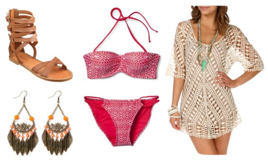 Swim boho ikat bikini crochet tunic