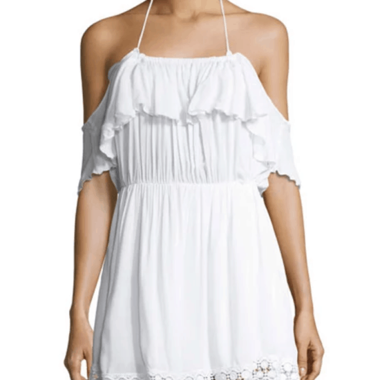White off-the-shoulder ruffle-top crochet-trim cover-up dress with halter neckline