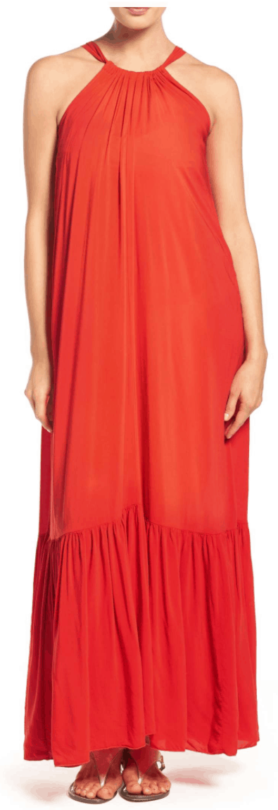 Bright orange-y red cover-up maxi dress with bottom tier