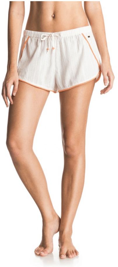 White drawstring shorts with orange pom-pom trim, orange beads on ties, and tiny metal logo plate on left side