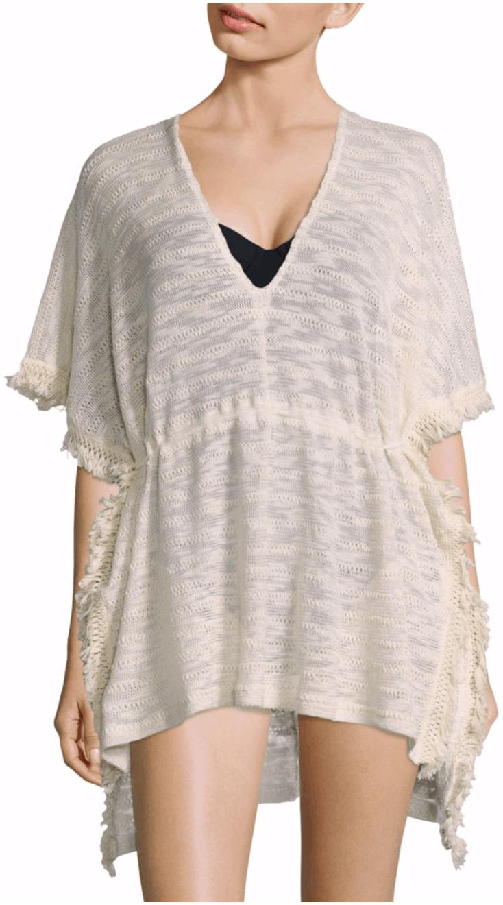 Off-white short caftan with fringe details, flutter sleeves, plunging v-neck, drawstring waist