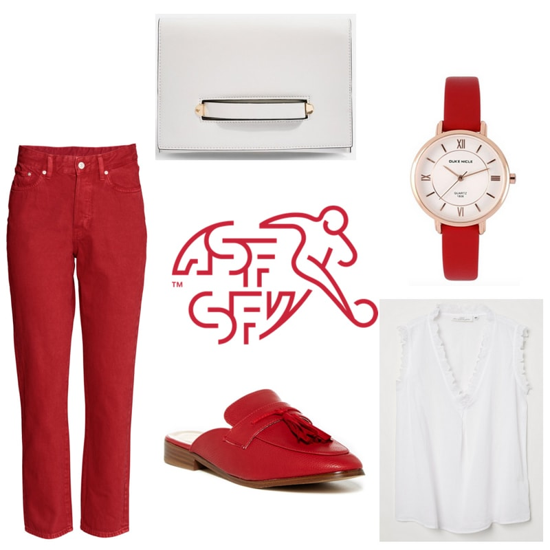 FIFA World Cup outfit inspired by Switzerland: Red cropped flare jeans, white ruffle top, red mules, white clutch, red watch