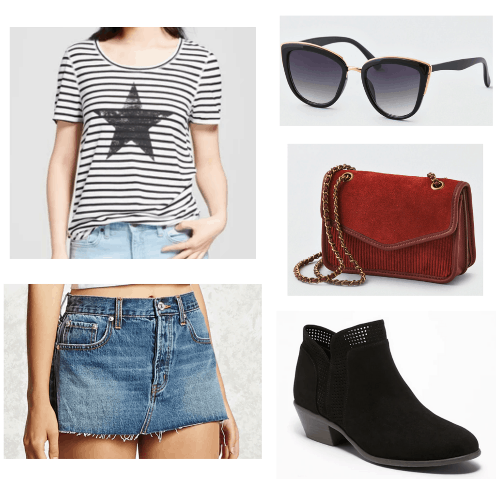 striped star t shirt, black sunglasses, red cross body bag, black booties, and denim skirt