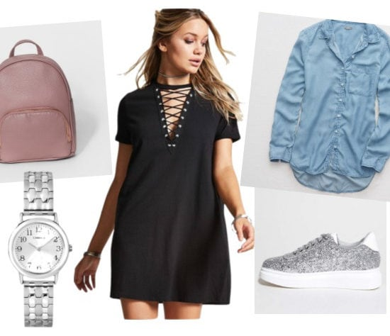 Chill T-Shirt Dress Outfit for daytime: Black lace-up tee shirt dress, silver watch, chambray shirt, silver glitter sneakers, mauve backpack