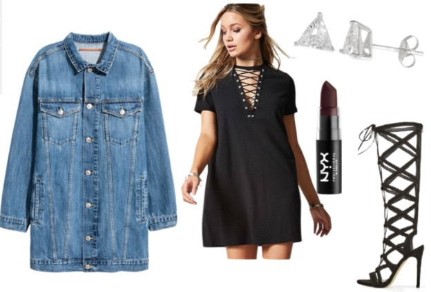 Dressed Up T-Shirt Dress: How to style a lace-up tee shirt dress for a night out with cage sandals, dark lipstick, stud earrings and an oversized jean jacket