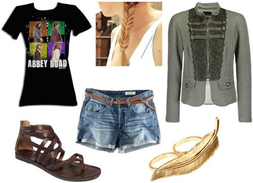 T-shirt outfit 1: Beatles Abbey Road tee, cutoff denim shorts, military jacket, two-finger ring, sandals
