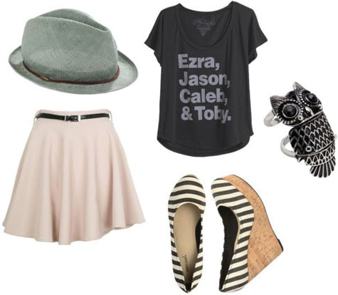 T-shirt outfit 2: Light pink swing skirt, graphic tee, striped wedges, fedora