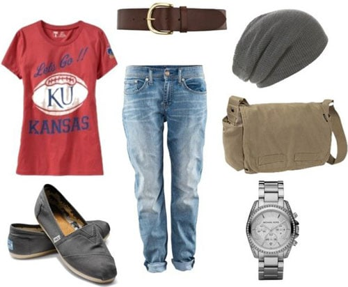 T-shirt outfit 3: Androgynous look with boyfriend jeans, red graphic tee, basic toms shoes, messenger bag, belt, menswear watch, beanie