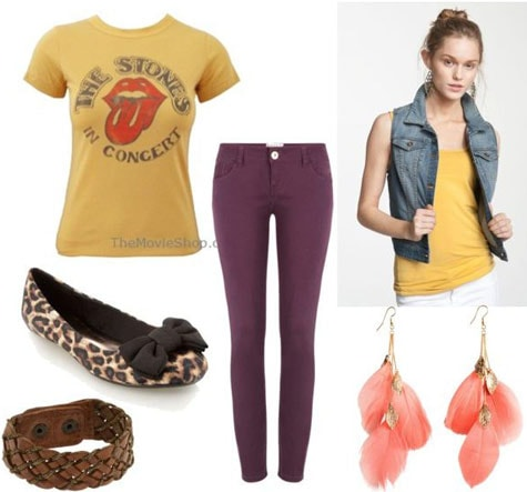 T-shirt outfit 4: Rolling stones tee, denim vest, skinny jeans, leopard flats, jewelry