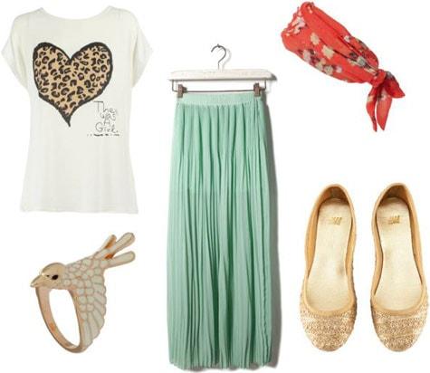 T-shirt outfit 5: Mint maxi skirt, leopard heart tee, bird ring, gold sparkle flats, red head scarf