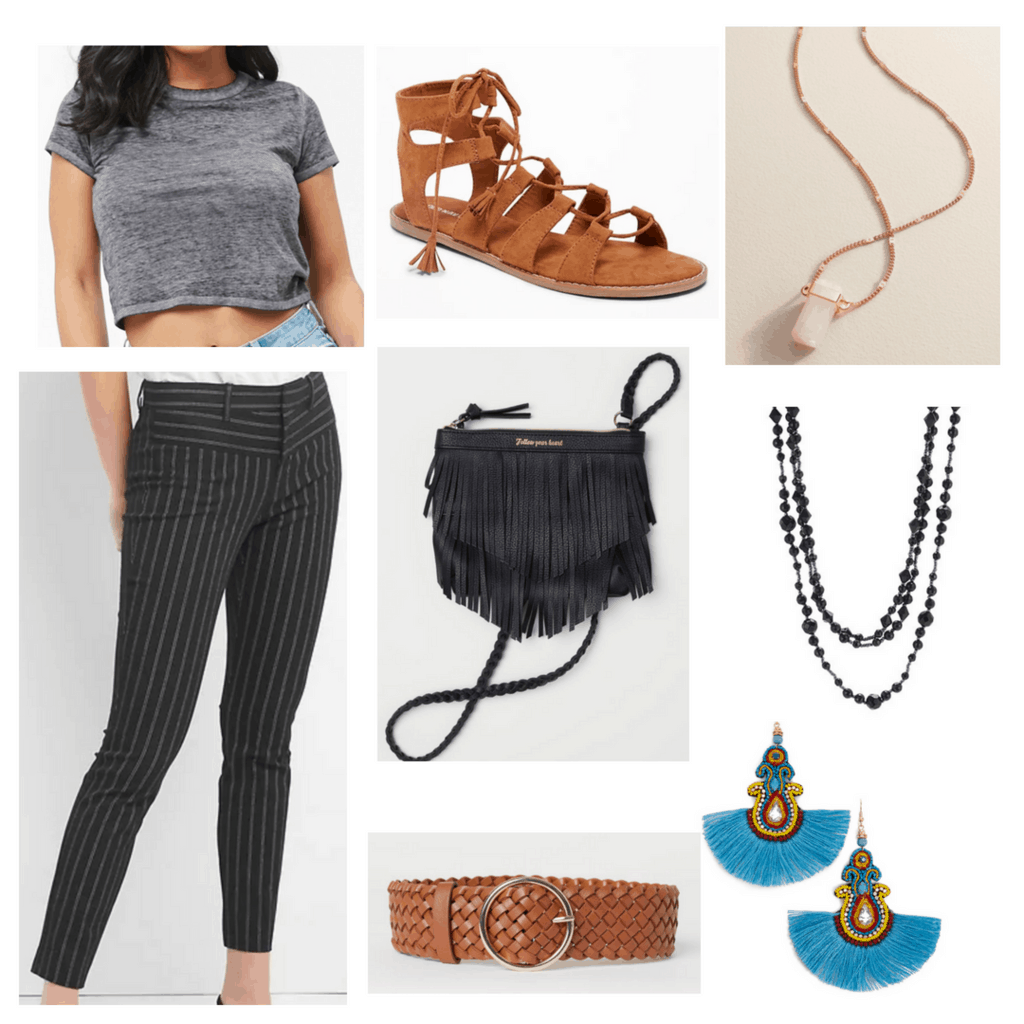 Gray t shirt with gray pin strip pants, brown sandals, black fringe purse, braided brown belt, tassel earrings and layering necklaces