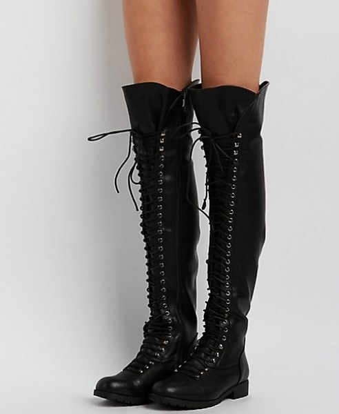 charlotte russe over-the-knee lace up black combat boots