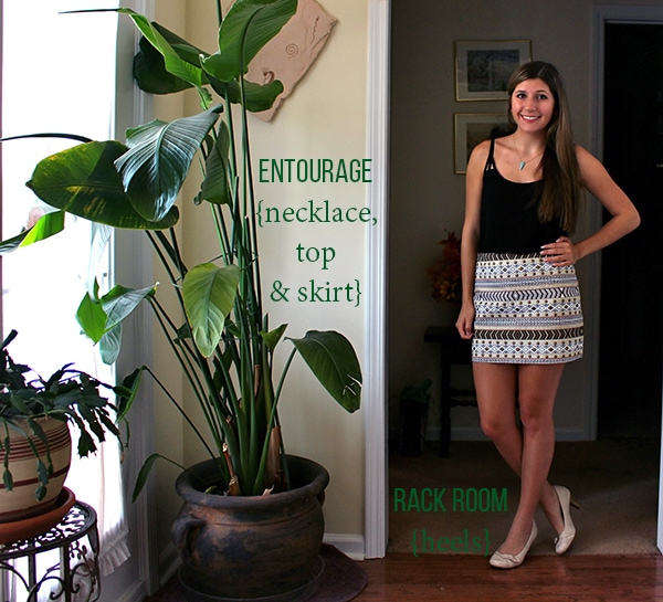 Tan black gold patterned skirt black tank nude heels plants everywhere turqouise necklace