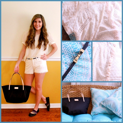 Tan-Blouse-Tan-Shorts-Kate-Spade-Tote-Ballet-Gold-Bow-Belt