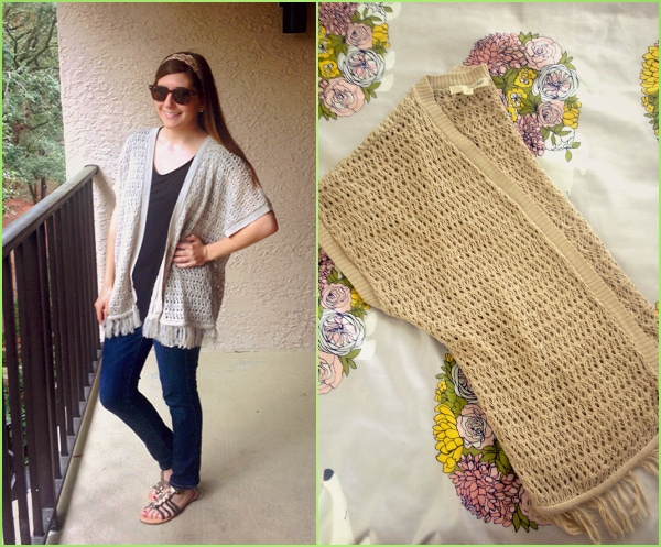 Spring break style: Crochet cardigan, skinny jeans