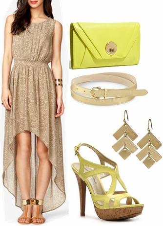 Tan dress, citron heels and citron clutch