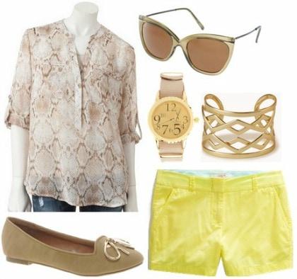 Tan print blouse, citron shorts, tan loafers