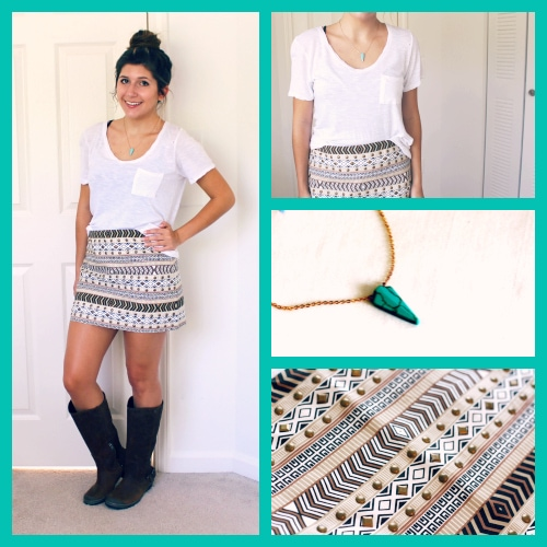 Tan-Printed-Skirt-Sorel-Boots-Turquoise-Necklace-Messy-Bun