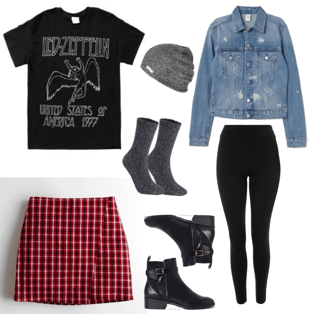 Dress like Tandy from Clock & Dagger: Led Zeppelin T-Shirt, Light Denim Jacket, Gray Beanie, Crew Socks, Black Legging, Plaid Mini Skirt, Black Ankle Boots