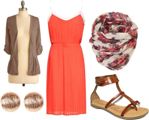 How to wear a tangerine dress for day with sandals, a patterned scarf, basic brown cardigan and circle earrings