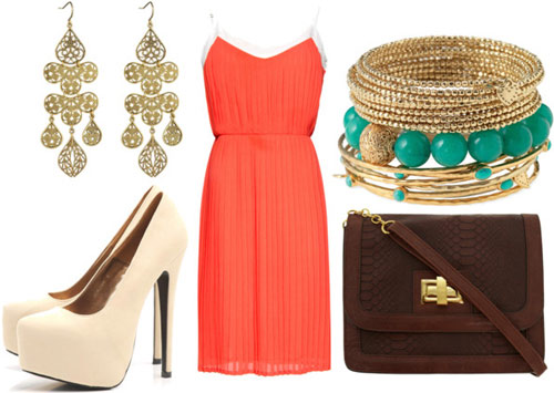 How to wear a tangerine dress for night with a cross-body bag, gold bangles, nude heels, and statement earrings