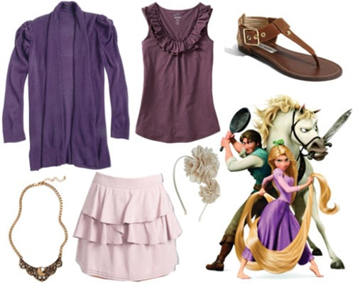Outfit inspired by Rapunzel from Tangled - lavender skirt, purple tank, purple cardigan
