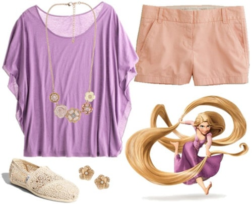 Outfit inspired by Rapunzel from Tangled - purple top and pink shorts