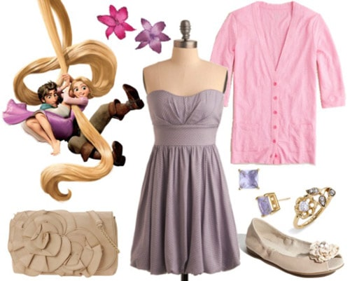 Outfit inspired by Rapunzel from Tangled - Lavender dress and pink cardigan