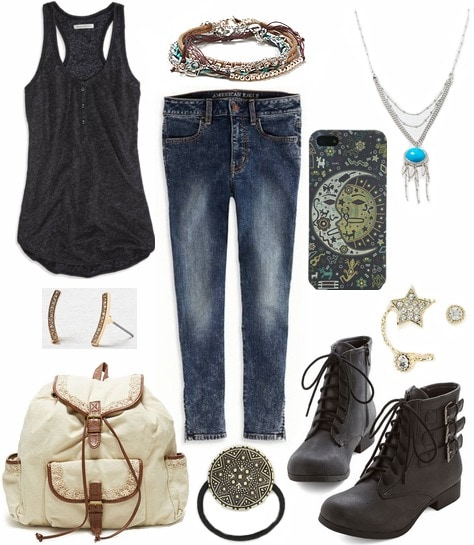 Tank top, jeans, boots, and boho accessories
