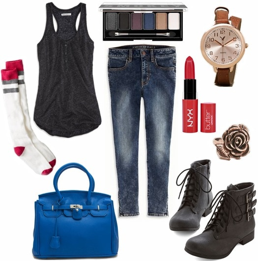 Tank top, jeans, boots, and collegiate accessories