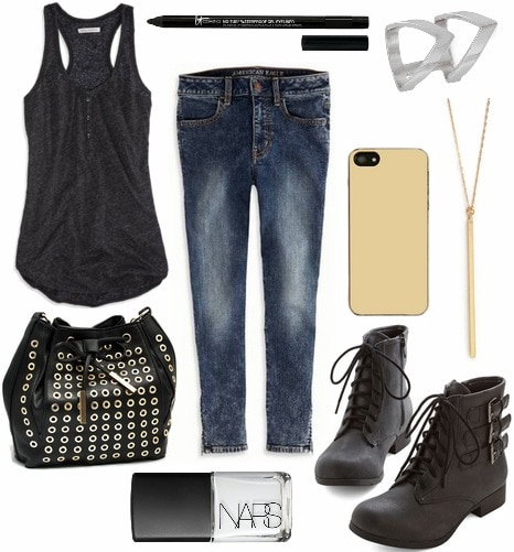 Tank top, jeans, boots, and edgy accessories