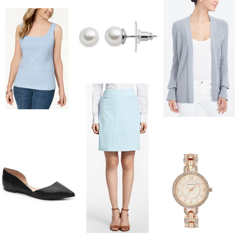 How to wear a tank top to work with pencil skirt, ruffle cardigan, pearl earrings, flats, and watch