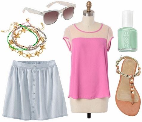 Target denim button front skirt, colorblocked top, embellished sandals