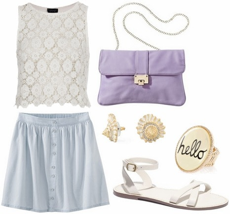 Target denim button front skirt, lace top, white sandals