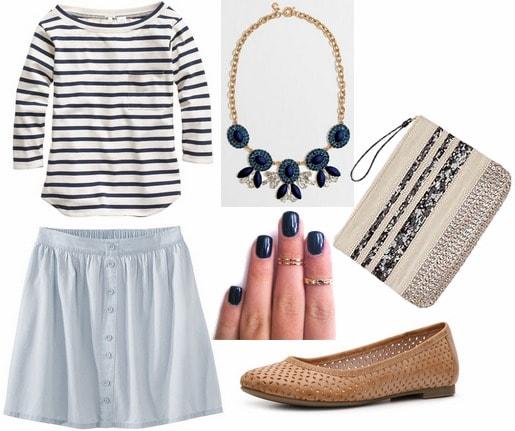 Target denim button front skirt, striped tee, woven flats