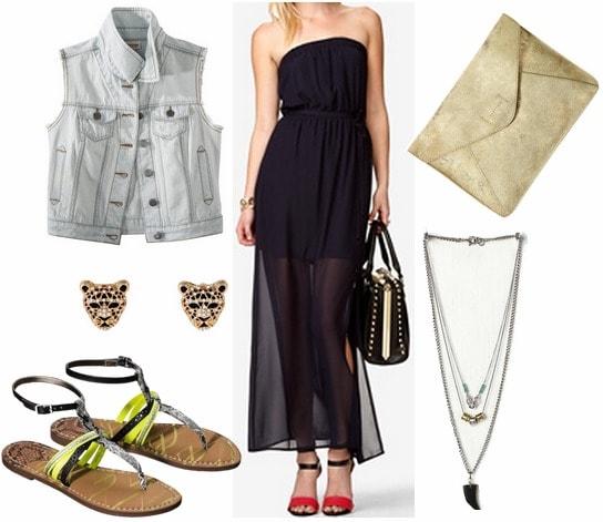 Target denim vest, black maxi dress, sandals