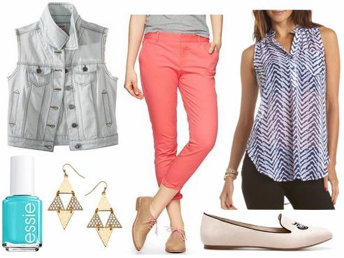 Target denim vest, coral trousers, printed blouse