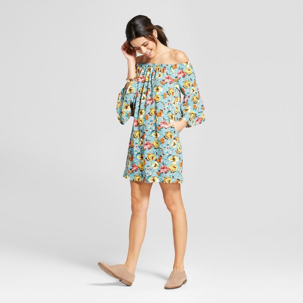 women's floral print off the shoulder bell-sleeve dress