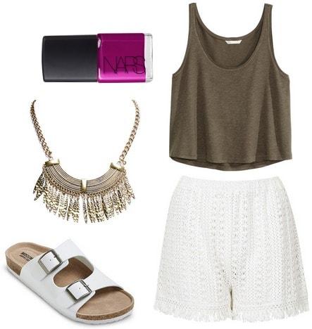 Target footbed sandals, tank top, crochet shorts