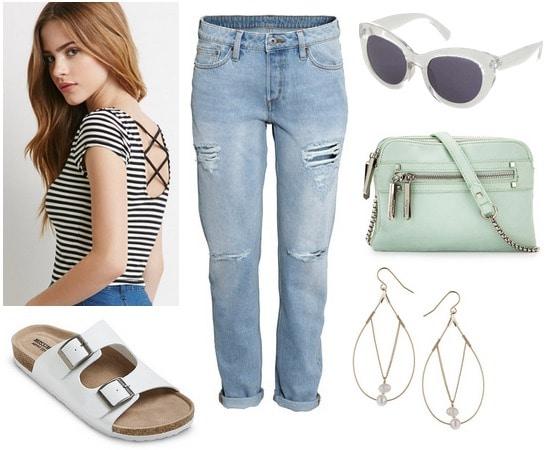 Target footbed sandals, boyfriend jeans, striped shirt