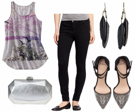 Target graphic tank, black jeans, silver clutch