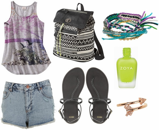 Target graphic tank, denim shorts, black sandals