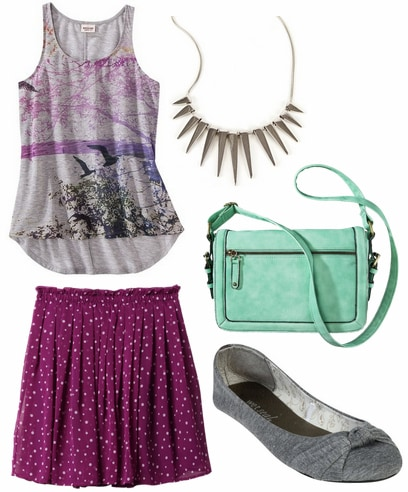 Target graphic tank, purple skirt, spike necklace