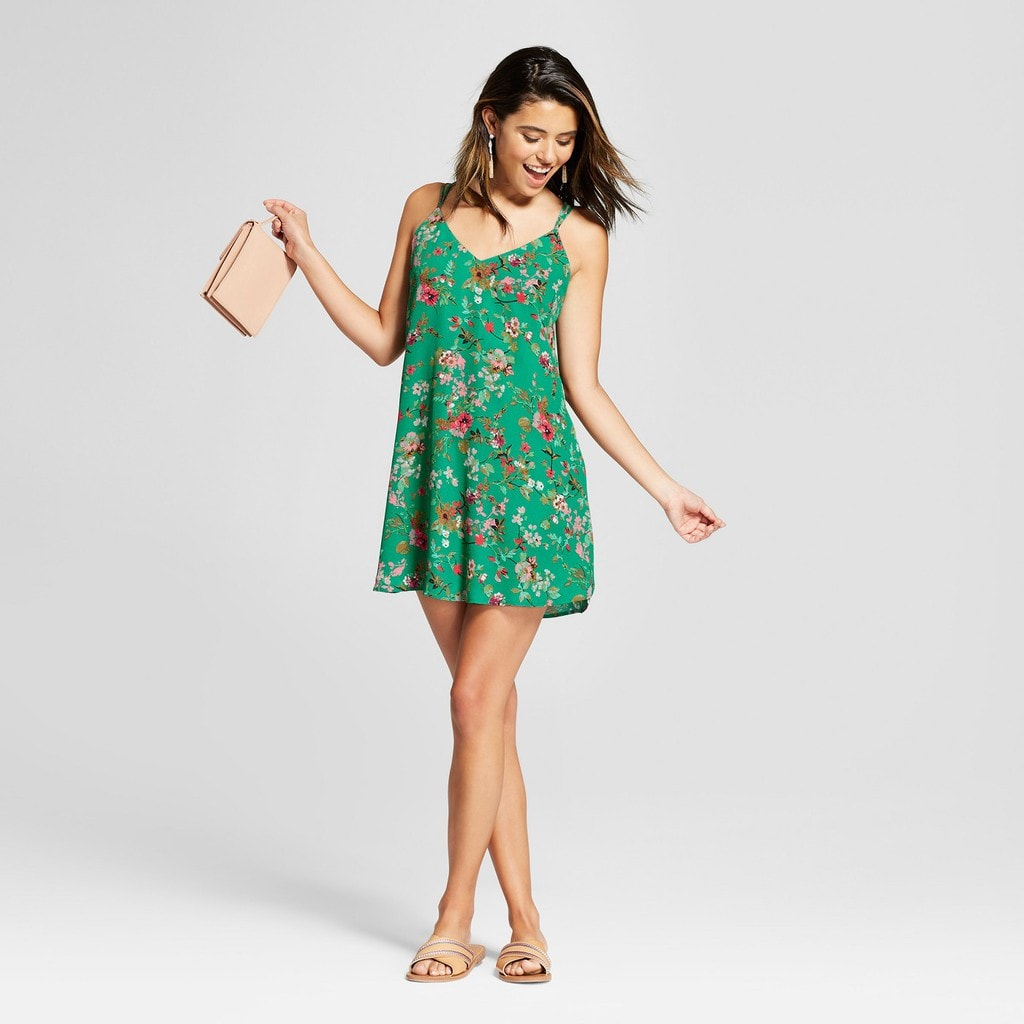 Target floral print green xhilaration shift dress