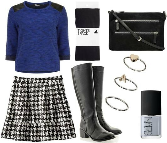 Target houndstooth skirt, cobalt sweater, riding boots