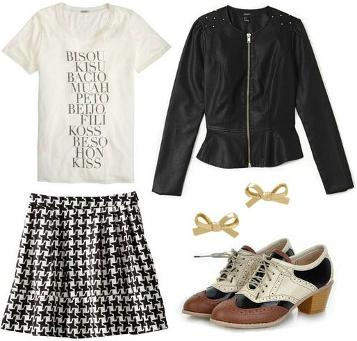 Target houndstooth skirt, graphic tee, leather jacket, oxfords
