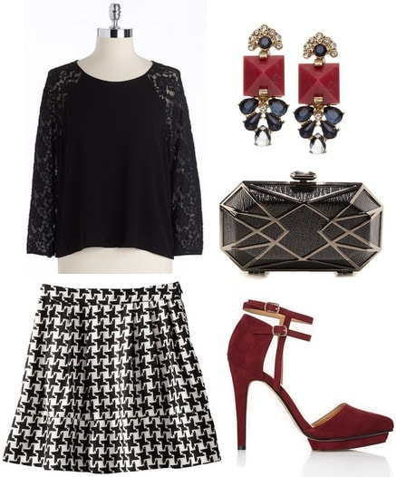 Target houndstooth skirt, lace blouse, deep red pumps