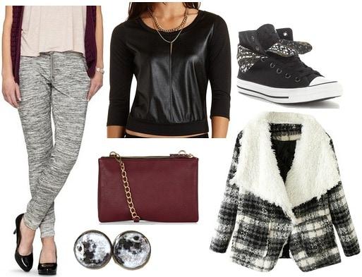 Target joggers, faux leather top, plaid coat, converse