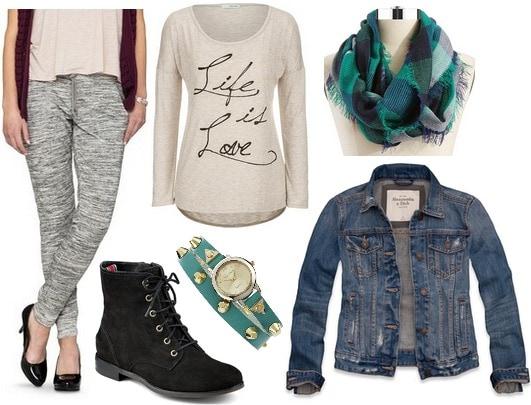 Target joggers, long sleeved top, denim jacket, boots
